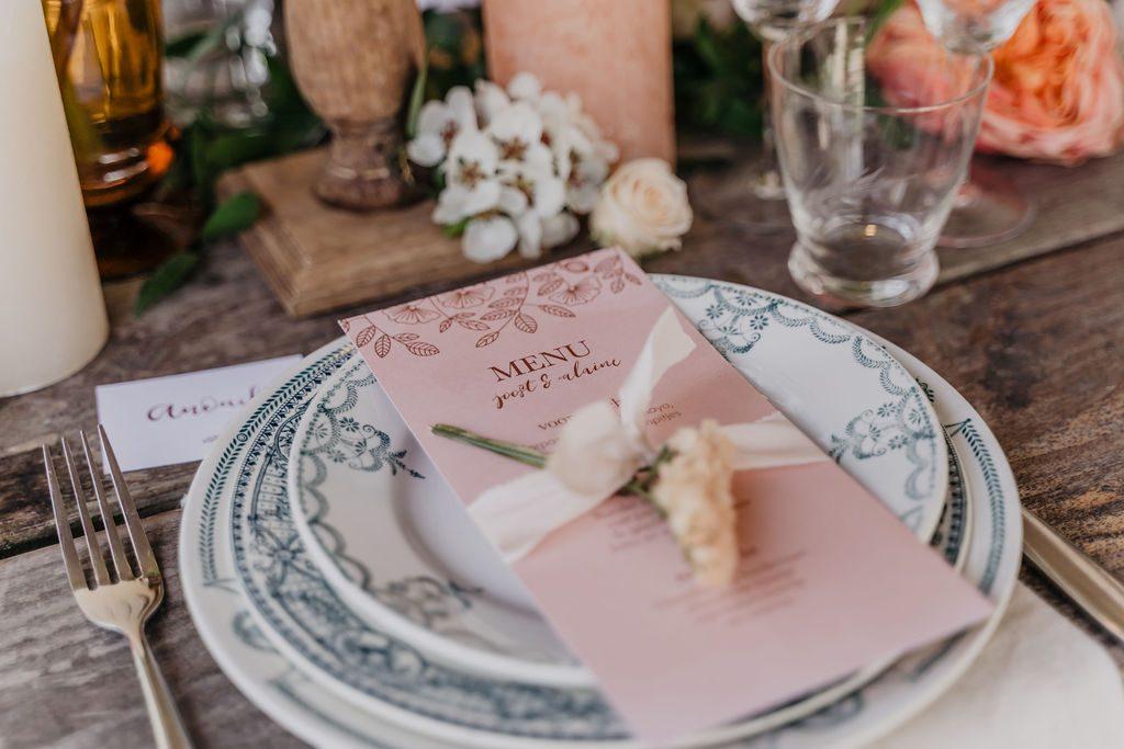 menukaarten op de styled table